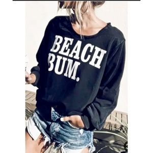 Black BEACH BUM Sweatshirt